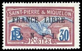 """FRANCE, St. Pierre & Miquelon - 1942, 30c """"France Libre/F.N.F.L"""