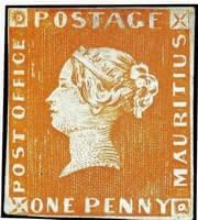 MAURITIUS – 1847, One Penny, Orange-Red, – worth US.$.1.25 million