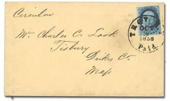 USA - 1857, 1¢ blue, type Ia