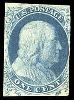 USA - 1851, 1¢ blue, type Ia