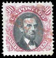 USA - 1869, 90¢ carmine & black