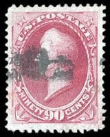 USA – 1870, 90¢ carmine, H. grill – SOLD for $3,500