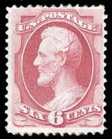USA – 1870, 6¢ carmine, I. grill – SOLD for $1,500