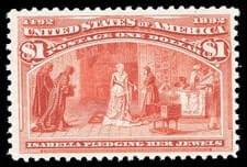 USA - 1893, Columbian, $1 salmon