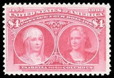 USA - 1893, Columbian, $4 crimson lake