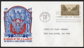 USA - 1945, SCOTT #934 3C STAMP, U. S. ARMY HEROES, BRIDGE AT REMAGEN,STAEHLE FDC