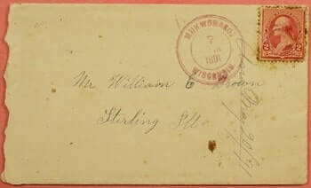 USA - 1891, LETTER RED MUKWONAGO WISCONSIN WI