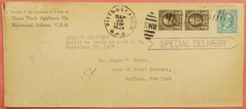 USA - 1927m SPECIAL DELIVERY RICHMOND INDIANA IN PITTS & ST LOUIS RPO