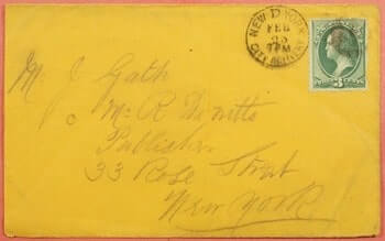 USA - 1870, NEW YORK CITY DELIVERY D DROP LETTER