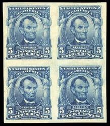 USA - 1908, 5¢ blue, imperf