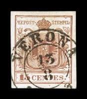 ITALY - 1853, 15c Vermilion, Verona postal forgery