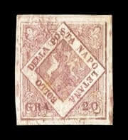 ITALY - 1858, 20gr Brownish rose, plate I