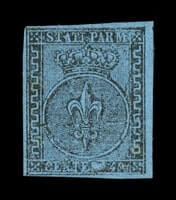 ITALY - 1852, 40c Black on pale blue