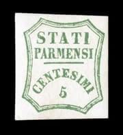 ITALY - 1859, 5c Blue green