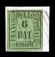ITALY - 1859, 6b Black on yellow green