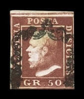 ITALY - 1859, 50gr Dark red brown