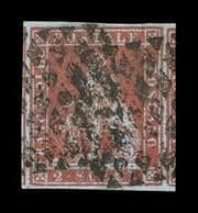 ITALY - 1851, 2s Scarlet on bluish