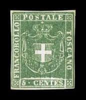 ITALY - 1860, 5c Green