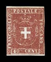ITALY - 1860, 40c Dark carmine