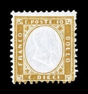 ITALY - 1862, 10c Yellow bister