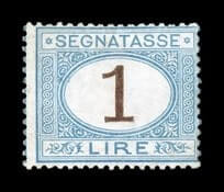ITALY - 1870, 1L Light blue and brown