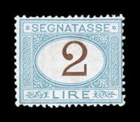 ITALY - 1870, 2L Light blue and brown