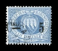 "ITALY - 1892 ""Cmi. 5"" surcharge on 10c Ultramarine"
