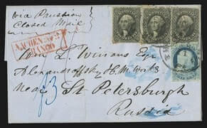 12c Black (3) 37c Prussian Closed Mail cover