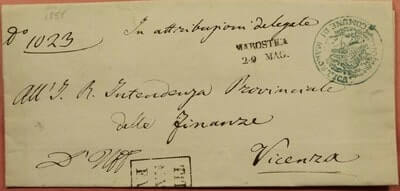ITALY - 1858, STAMPLESS F/L MAROSTICA CANCEL