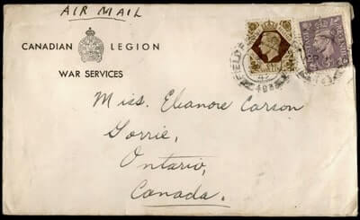 CANADA - 1942, FPO 493 AIRMAIL TO GORRIE WWII