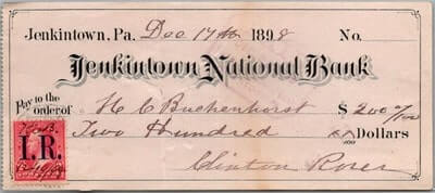 USA - 1898,US BANK CHECK, JENKINTOWN, PA.