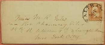 1850, TIED WALTHAM CANCEL