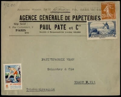 FRANCE – 1938, FRANCE PARIS TO CZECHOSLOVAKIA + TUBERCULOSIS SEAL