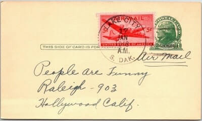 USA - 1948,US POSTAL CARD, LAKE CITY, SD.