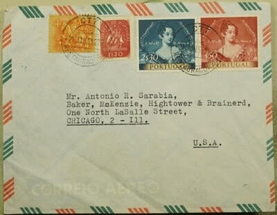 PORTUGAL - 1954, PORTUGAL TO USA MULTI FRANKED AIR MAIL