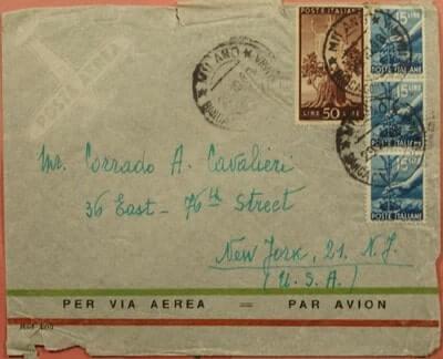 ITALY - 1948, MILAN AIRMAIL TO USA