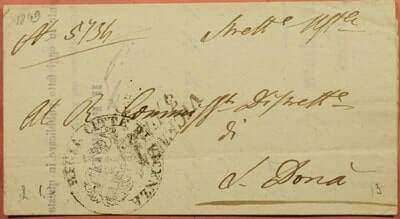 ITALY - 1849, ITALY STAMPLESS F/L VICENZA CANCEL