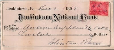USA - 1898,US BANK CHEQUE, JENKINTOWN, PA.