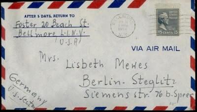 USA - 1954, PREXIE BELLMORE NY AIRMAIL TO GERMANY US ZONE