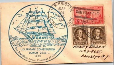 USA – 1933, US NAVAL COVER, U.S. FRIGATE CONSTITUTION