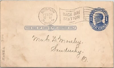 USA – 1912, US POSTAL CARD, BOSTON, MA.