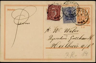 GERMANY – 1922, GERMANY KIRCHENFELD POSTAL CARD UPRATED STATIONERY