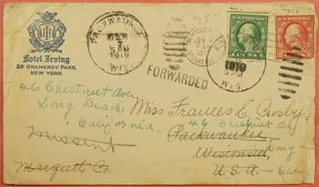 USA - 1919, HOTEL IRVING NY CITY TO PACKWAUKEE WI MISSENT FORWARDED