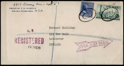 USA - 1950, PREXIE OMAHA NE REGISTERED AIRMAIL TO GB