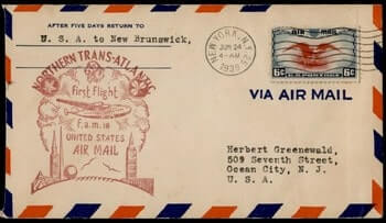 USA - 1939, NEW YORK TO NEW BRUNSWICK FIRST FLIGHT FAM 18 AIR MAIL