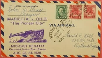 USA - 1929, MID-EAST REGATTA BOAT RACES MARIETTA OH SIGNED MAYOR
