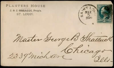 USA – 1880, ST LOUIS MO PLANTERS HOUSE HOTEL ADVERTISING TO IL