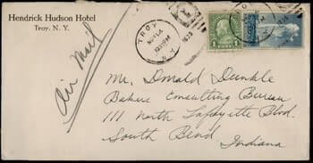 USA - 1935, NATIONAL PARK, HENDRICK HUDSON HOTEL TROY NEW YORK NY AIRMAIL