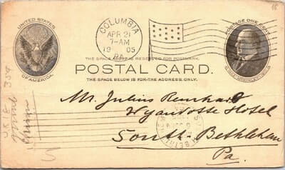 USA – 1905, US POSTAL CARD, COLUMBIA, PA.