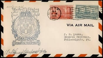 USA - 1939, YORK PA EXPERIMENTAL FIRST FLIGHT AIR MAIL CAM 1001